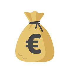 Euro cash sack or money bag icon flat vector