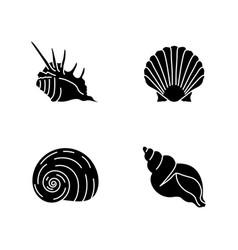 Exotic sea shells black glyph icons set on white vector