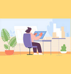 female architect woman working house vector image