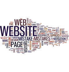 Five common web design mistakes text background vector