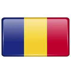 Flags Romania in the form of a magnet on vector