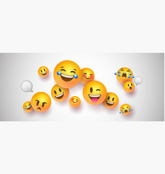Funny 3d smiley face icons on white background vector