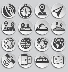Geolocation related icons set on background for vector