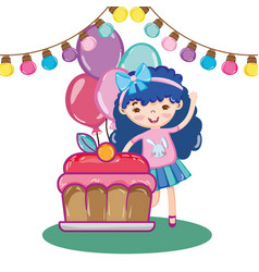 Girl party with bulbs decoration and cake with vector