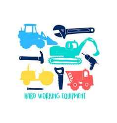 hand drawing vehicles print design with slogan vector image