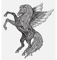 Hand drawn Pegasus mythological winged horse vector image