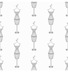 Hand drawn vintage iron mannequin seamless pattern vector image