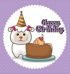 happy birthday card with cute sheep vector image