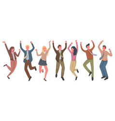 happy business people jumping vector image