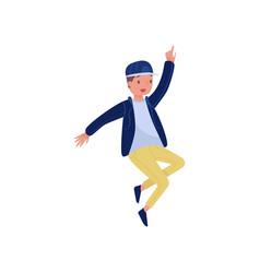 Hip-hop dancer in action teenager boy with happy vector