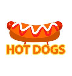 Hot dog with ketchup and mayo american fast food vector