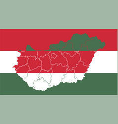 hungary national flag with administrative regions vector image