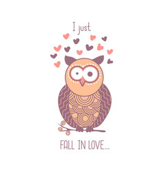 i just fall in love cute pink shocked cartoon owl vector image