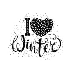 I love winter text element lettering Seasonal vector image