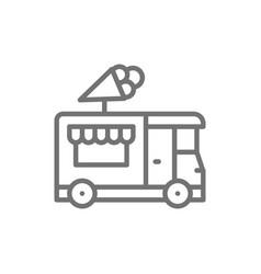Ice cream truck street fast food line icon vector