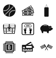 intensive training icons set simple style vector image