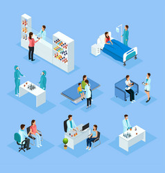 isometric medical preparation and treatment set vector image