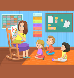 language lesson teacher and pupils school vector image