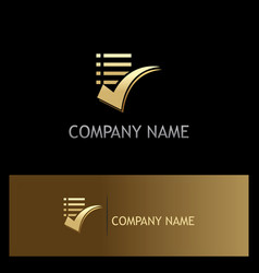 List check mark gold logo vector