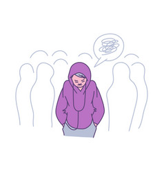 Lonely person in a crowd - cartoon teenager vector