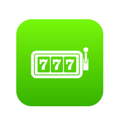 lucky seven on slot machine icon digital green vector image