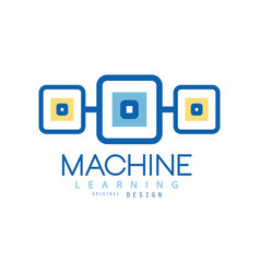 Machine learning logo geometric symbol of modern vector