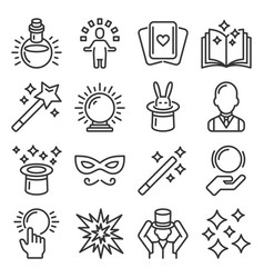 magic and trick icons set on white background vector image