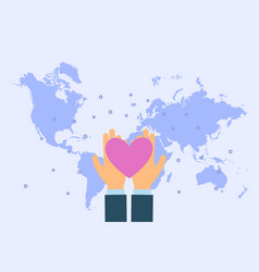 man give heart in palm hands at world map vector image