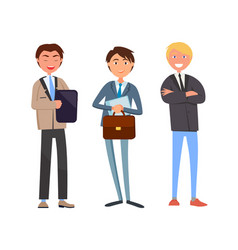 Man talking with business companions businessman vector