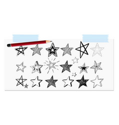 Open notebook with star drawing vector