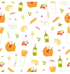 Paris picnic pattern vector