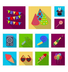 party entertainment flat icons in set collection vector image