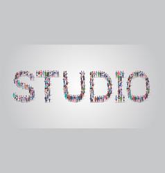 people crowd gathering in shape studio word vector image