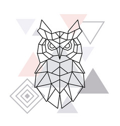 polygonal owl on minimalist triangle background vector image