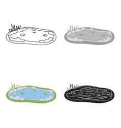 Pond icon in cartoon style isolated on white vector