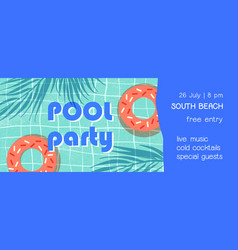 pool party flat banner template summer vector image