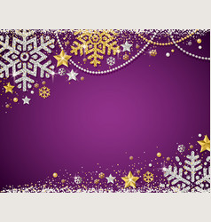 Purple christmas background with frame of golden vector