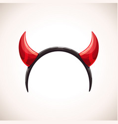 red devil horns head band decor halloween vector image