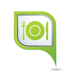 Restaurant icon on green map pointer vector