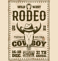 Rodeo show advertisement poster in retro style vector
