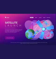 satellite launch concept landing page vector image