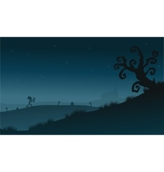 Scenery dry tree and zombie silhouette Halloween vector