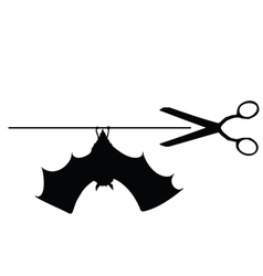scissors with bat vector image