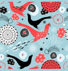 seamless pattern with fur seals and stones vector image