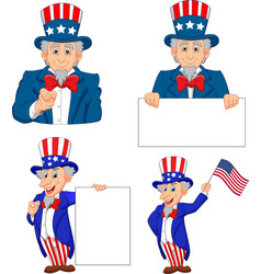 set cartoon uncle sams in different poses vector image