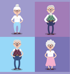 Set gandparents couples with grasses and hairstyle vector