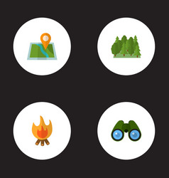 Set of camp icons flat style symbols with forest vector