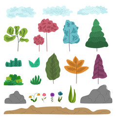 set of colorful fantasy abstract trees grass vector image