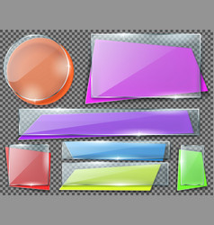 Set of transparent glass plates or banners vector