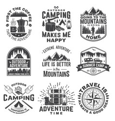 Set outdoor adventure quotes symbol vector